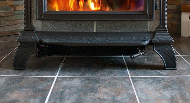 Tile under a fireplace